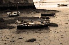 Aufgefangenes Ruderboot auf Fluss Exe lizenzfreies stockbild