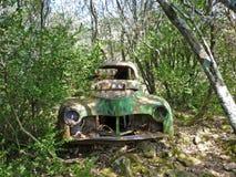 Aufgegebenes Auto im Wald Stockbilder