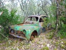 Aufgegebenes Auto im Wald Lizenzfreie Stockfotografie