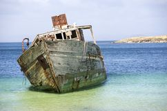 Aufgegebenes Fischerboot Stockfoto