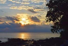 Aufgehende Sonne mit goldenem Sonnenschein mit Wolken im Himmel mit Futter über Meer und Konturen des Baums und Steinen - Neil Is stockfotografie