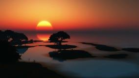 Aufgehende Sonne und Bäume in Ozean lizenzfreie abbildung