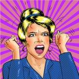 Aufgeregte Frau der Vektorpop-art mit den Händen oben Lizenzfreie Stockbilder