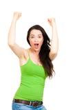 Aufgeregte Frau mit den Händen in der Luft Stockfotos