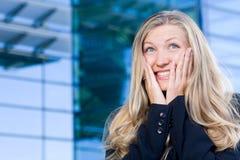 Aufgeregte Geschäftsfrau Stockfotos