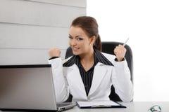 Aufgeregte Geschäftsfrau Stockbild