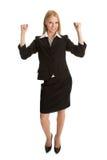 Aufgeregte Geschäftsfrau, die Erfolg feiert Stockbild