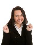Aufgeregte Geschäftsfrau, die Erfolg feiert Stockfotografie