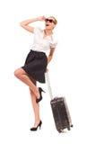 Aufgeregte Geschäftsfrau mit Tasche. Stockfotos