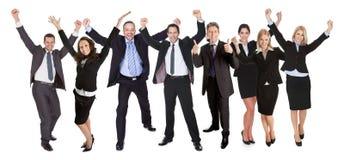 Aufgeregte Geschäftsleute der Gruppe von Personen