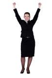 Aufgeregte junge Geschäftsfrau Stockbild