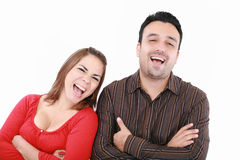 Aufgeregte junge Paare stockbild