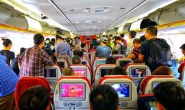 Aufgeregte Luftreisende Stockfoto