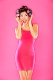 Aufgeregte lustige schöne Frau Stockbilder