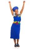 Aufgeregte südafrikanische Frau Lizenzfreies Stockfoto