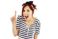 Aufgeregte Stift-obenartfrau mit dem Finger lizenzfreies stockfoto