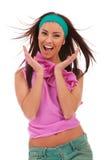 Aufgeregte und überraschte junge Frau Stockfotos