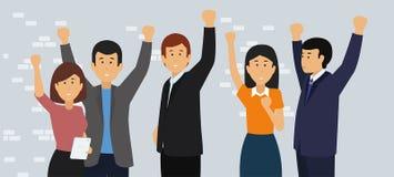 Aufgeregte und glückliche Geschäftsleute mit den angehobenen Armen lizenzfreie abbildung