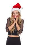 Aufgeregte Weihnachtsfrau Lizenzfreies Stockbild
