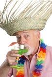 Aufgeregter Älterer mit Margarita lizenzfreie stockfotografie