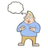 aufgeregter überladener Mann der Karikatur mit Gedankenblase Lizenzfreies Stockfoto