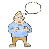 aufgeregter überladener Mann der Karikatur mit Gedankenblase Stockfotografie