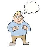 aufgeregter überladener Mann der Karikatur mit Gedankenblase Lizenzfreie Stockbilder