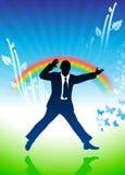 Aufgeregter Geschäftsmann, der auf Regenbogenhintergrund springt Stockfoto