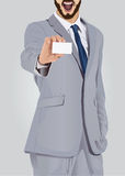 Aufgeregter Geschäftsmann, der Visitenkarte zeigt Lizenzfreie Stockbilder