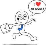 Aufgeregter Geschäftsmann Loves Work Stockbilder