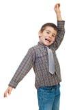 Aufgeregter kleiner Junge Stockfoto