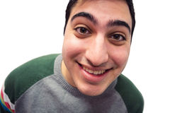 Aufgeregter lächelnder Kerl Stockfotografie