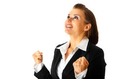 Aufgeregter moderner freuender Erfolg der Geschäftsfrau lizenzfreie stockfotografie