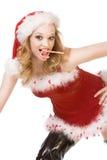Aufgeregter Stift herauf Mrs Weihnachtsmann mit Zuckerstange Lizenzfreie Stockfotos