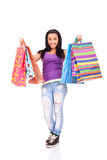 Aufgeregtes Einkaufenmädchen Stockbilder