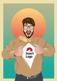 Aufgeregtes Geschäftsmannöffnungshemd, zum Ihres Logos aufzudecken Stockfoto