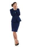 Aufgeregtes Luft-Stewardess-In Blue Suit-Schreien in voller Länge Lizenzfreie Stockbilder