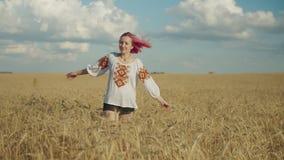 Aufgeregtes weibliches auf dem Weizengebiet herum spinnen stock footage