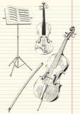 Aufgereihte Musik-Instrumente Stockfoto