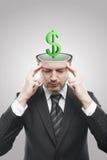 Aufgeschlossener Mann mit grünem Zeichen des Dollar-3d nach innen Lizenzfreie Stockfotografie