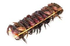 Aufgespießte Krabben für das Essen lizenzfreies stockfoto