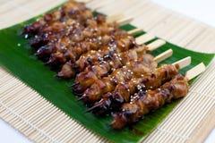 Aufgespießtes und gegrilltes Fleisch, Satay Stockbild