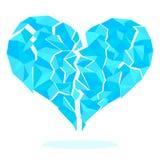 Aufgeteilte Fragmente des eisigen Herzens lokalisiert auf weißem Hintergrund Lizenzfreies Stockfoto