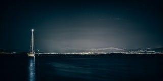 Aufgeteilte Seeseite bis zum der Nacht Lizenzfreie Stockfotografie