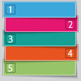 Aufgezählte Fahnenliste des Vektors Mehrfarbenpapier stock abbildung