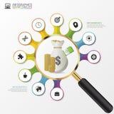 Aufgliederung- und Bewertung des Portefeuillesgrafikdesignkonzept mit Lupe Vektor Stockbild