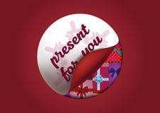 Aufkleber über Geschenke Persönliches Geschenk für Sie plakat Auch im corel abgehobenen Betrag Lizenzfreies Stockbild