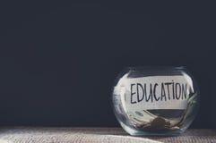 Aufkleber auf einem Glasgefäß mit der Aufschrift - Bildung Lizenzfreies Stockbild