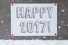 Aufkleber auf Zement-Wand, Schneeflocken, simsen glückliches 2017 Lizenzfreies Stockbild