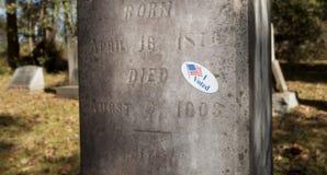 Aufkleber, der einen toten Wähler anzeigt Stockfotografie